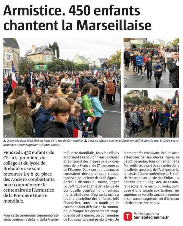 50388cb04b Dans la presse : « Armistice : 450 enfants chantent la Marseillaise ...